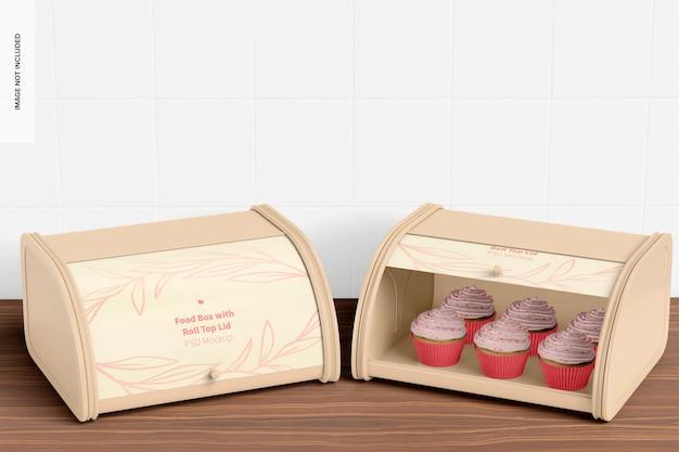롤 탑 뚜껑 모형이있는 식품 상자