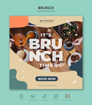 Food brunch social media square instagram post template