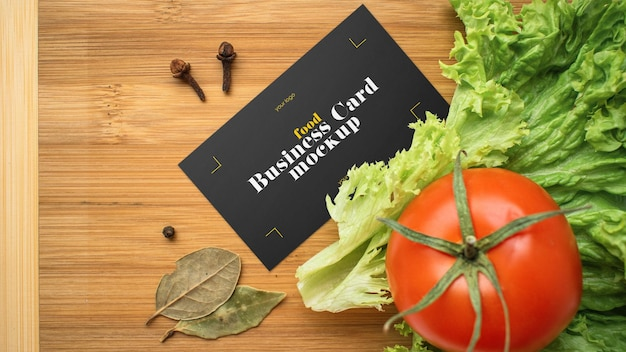 Food business card mockup design