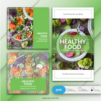 Food business marketing instagram post and story template or square banner