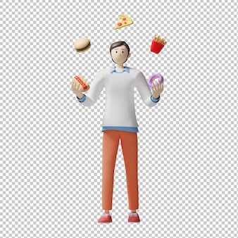 음식 서커스 메뉴 3d 일러스트 디자인 렌더링 격리 된 문자