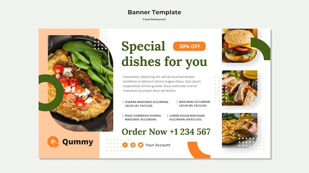 Food concept banner template