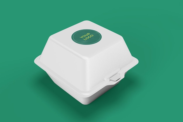 식품 용기 모형, 브랜딩 및 아이덴티티를 위한 스티커 덮개가 있는 흰색 상자