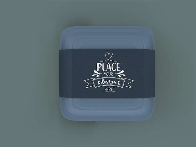 Food container, white box mockup with craft cardboard cover for branding and identity.