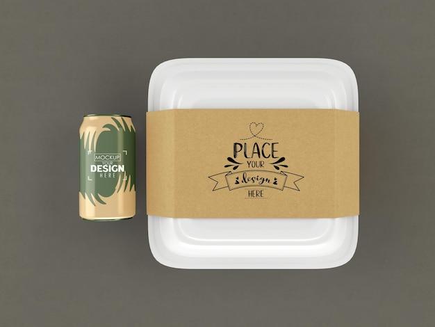 食品容器、ブランディングとアイデンティティのためのクラフト段ボールカバー付きホワイトボックスモックアップ。