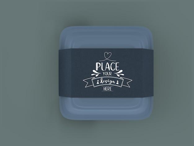 Контейнер для пищевых продуктов, мокап белого ящика с крафтовой картонной обложкой для брендинга и индивидуальности.