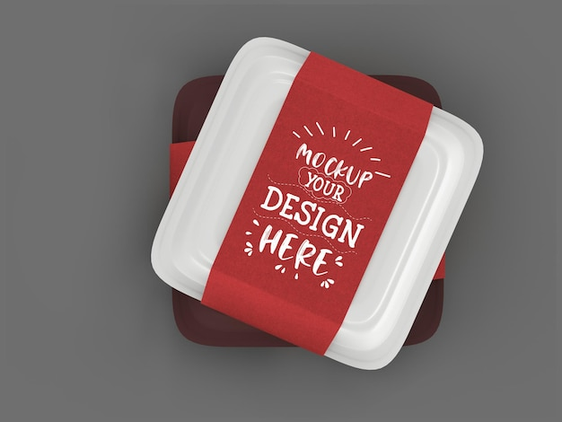 식품 용기, 브랜딩 및 정체성을위한 공예 골판지 덮개가있는 흰색 상자 모형.
