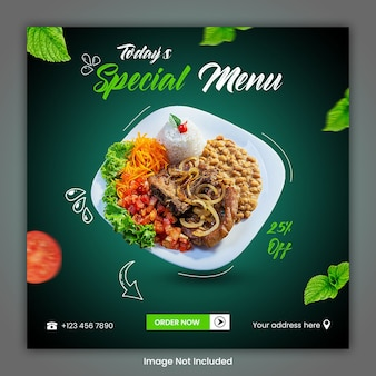 食品料理ソーシャルメディアの投稿テンプレート