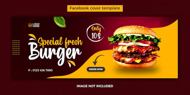 Food facebook cover design template with food sale