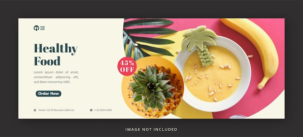 Food facebook cover page and web banner design template for restaurant premium psd
