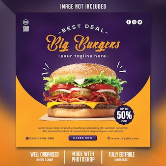 Food flyer template with burger theme