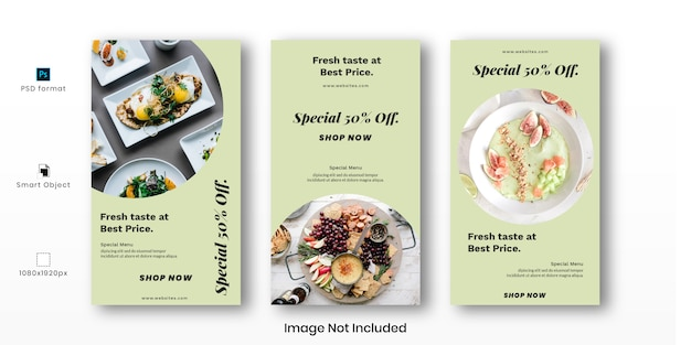 Food instagram stories template set