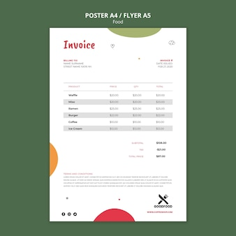 Food invoice poster template Free Psd