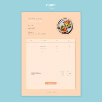 Food invoice template design