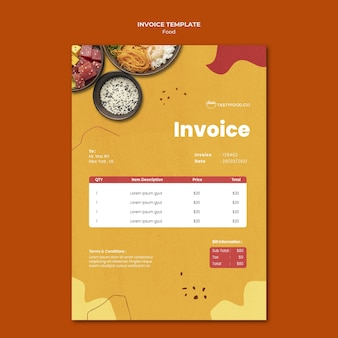 Food invoice template