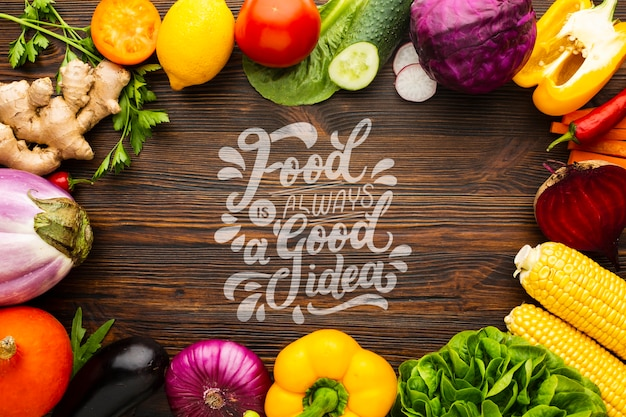 Food is good idea mock-up with frame made from delicious fresh veggies