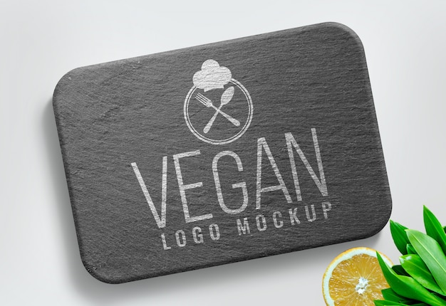 Food logo mockup vegan background