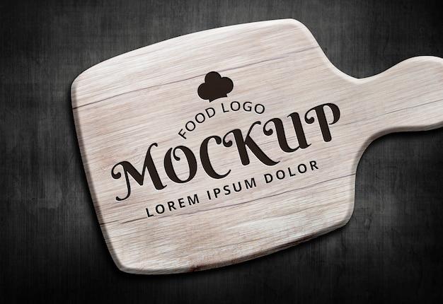 Food logo mockup wood background dark light