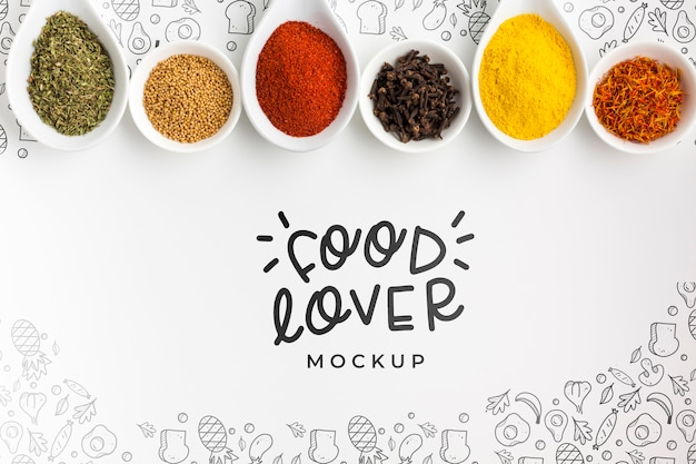 Food lover and bowls filled with spices mock-up