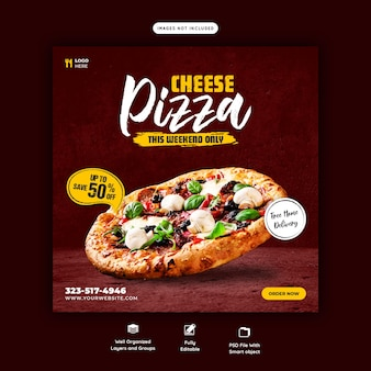 음식 메뉴와 치즈 피자 소셜 미디어 배너 서식 파일