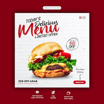 Меню еды и вкусный бургер шаблон баннера в социальных сетях