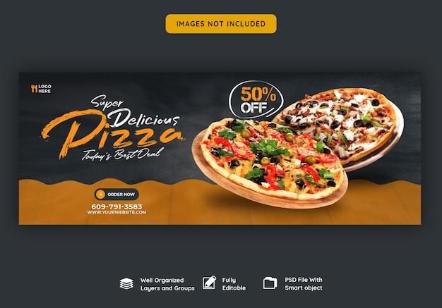Меню еды и вкусная пицца шаблон обложки facebook
