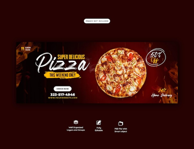 음식 메뉴와 맛있는 피자 페이스 북 커버 배너 템플릿