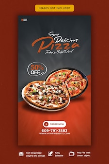 Меню еды и вкусная пицца instagram и шаблон истории в фейсбуке