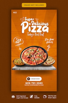음식 메뉴와 맛있는 피자 instagram 및 facebook 스토리 템플릿