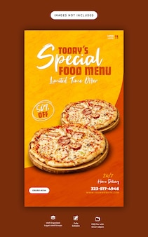 Меню еды и вкусная пицца instagram и шаблон истории facebook