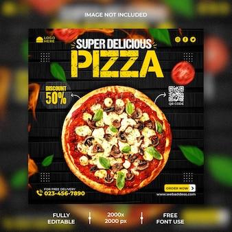 Меню еды и шаблон поста в instagram с вкусной пиццей