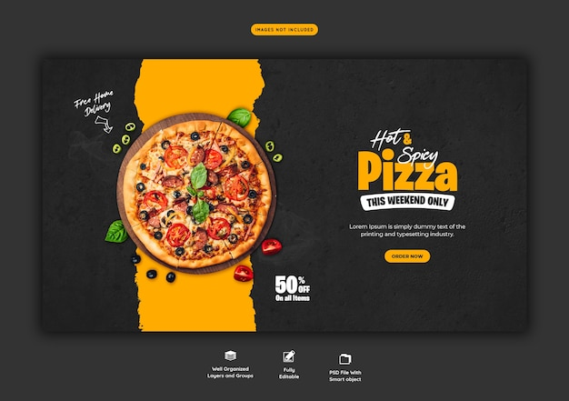 Меню еды и шаблон веб-баннера вкусной пиццы