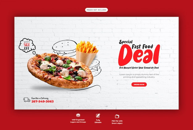 Меню еды и вкусная пицца веб-баннер шаблон