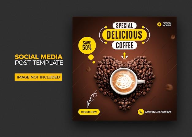 Пищевое меню и ресторан кофе в социальных сетях опубликовать шаблон