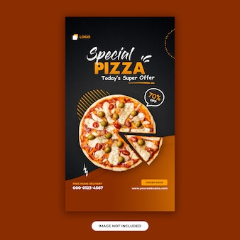 Шаблон оформления баннера меню еды и ресторана instagram рассказы