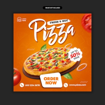 Еда меню и ресторан пицца социальной сети пост шаблон премиум psd