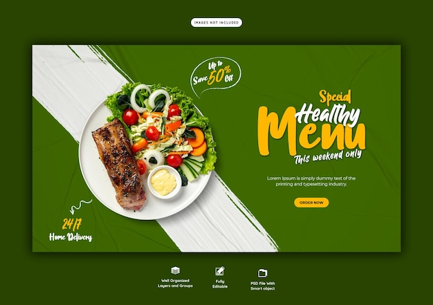 Меню еды и шаблон веб-баннера ресторана