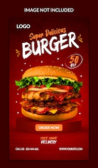 Food menu burger and restaurant instagram and facebook story template