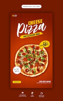 Food menu and cheese pizza story template