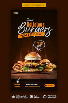 Food menu and delicious burger instagram story template