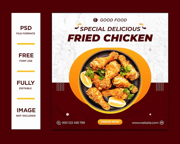 Food menu and delicious chicken social media banner template psd