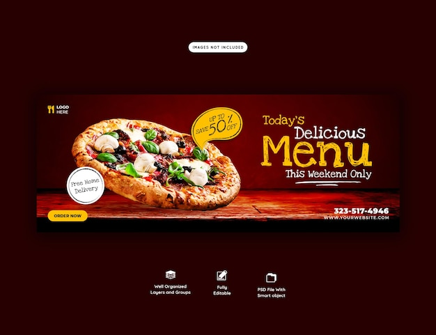Food menu and delicious pizza cover banner template