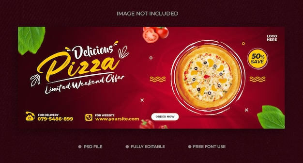Food menu and delicious pizza facebook cover banner template free