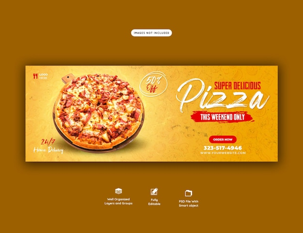 Food menu and delicious pizza facebook cover banner template