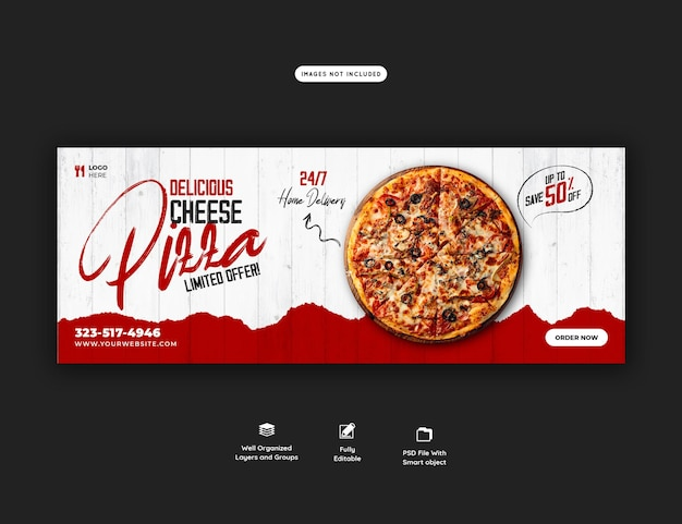 Menu di cibo e pizza deliziosa modello di banner di copertina di facebook