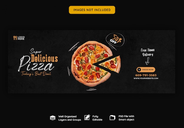 Food menu and delicious pizza facebook cover template