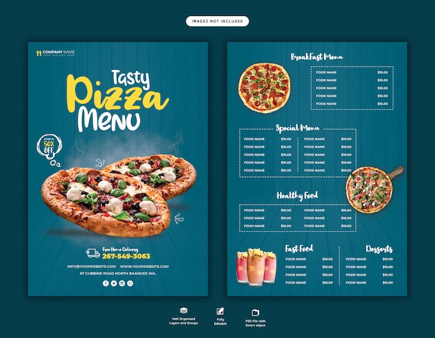 Food menu and delicious pizza flyer template