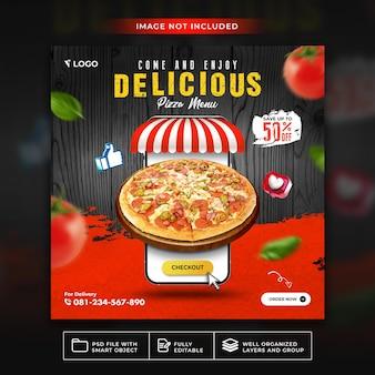 Еда меню вкусной пиццы для шаблона сообщения в социальных сетях premium psd