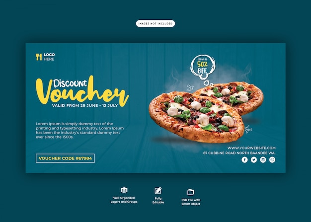 Food menu and delicious pizza gift voucher template