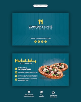 Food menu and delicious pizza horizontal business or visiting card template